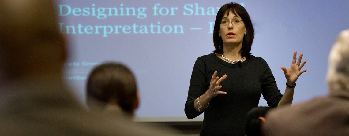 picture of Annette Simmons teaching a workshop