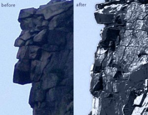 Old Man in the Mountain: Before and After